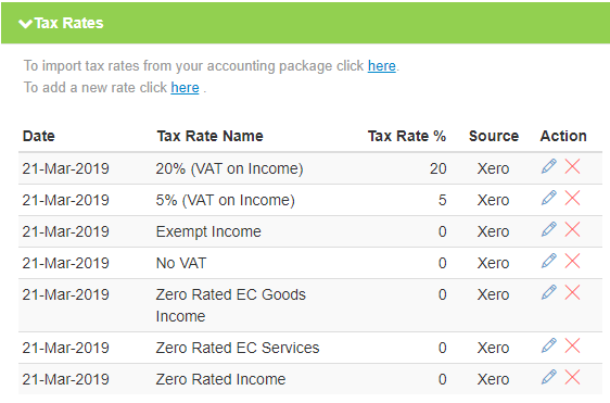Getting Xero Tax Rates