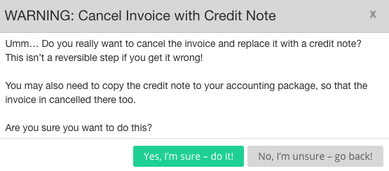 Confirmation of invoice cancellation