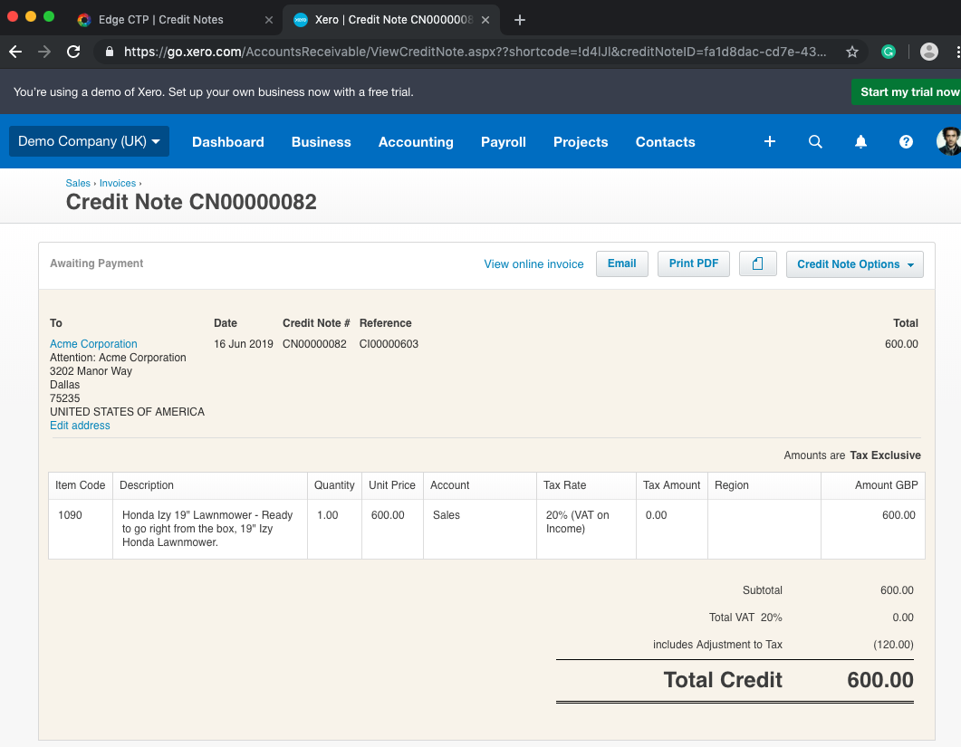 Xero version of a Credit Note