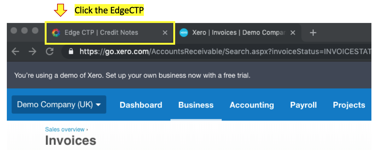 Reflect Credit Note Refund in EdgeCTP