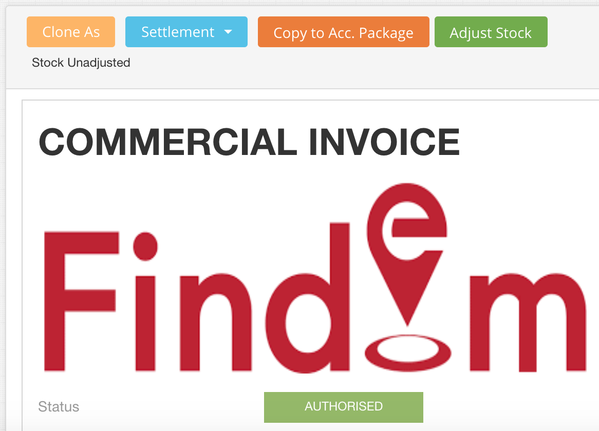 Authorised Commercial Invoice in EdgeCTP