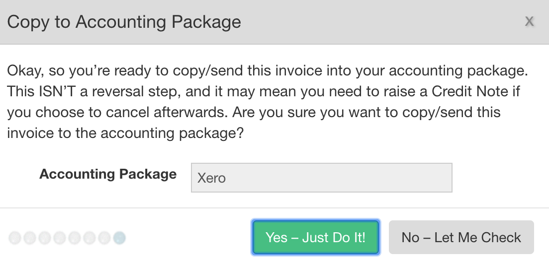 Confirmation to Copy Invoice to Xero from EdgeCTP