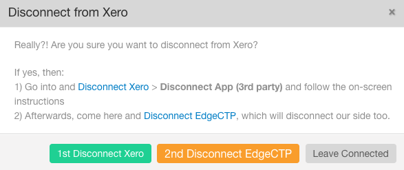 EdgeCTP to Xero API unlink