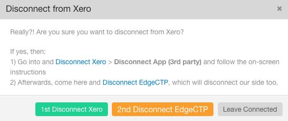 EdgeCTP unlink Xero API