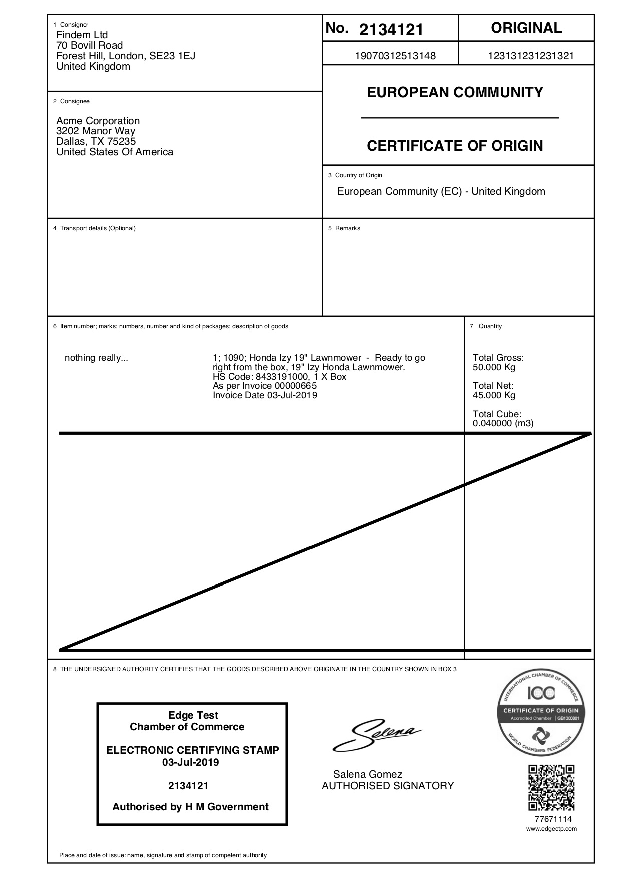 Sample EC Certificate of Origin from EdgeCTP and EdgeCERTS