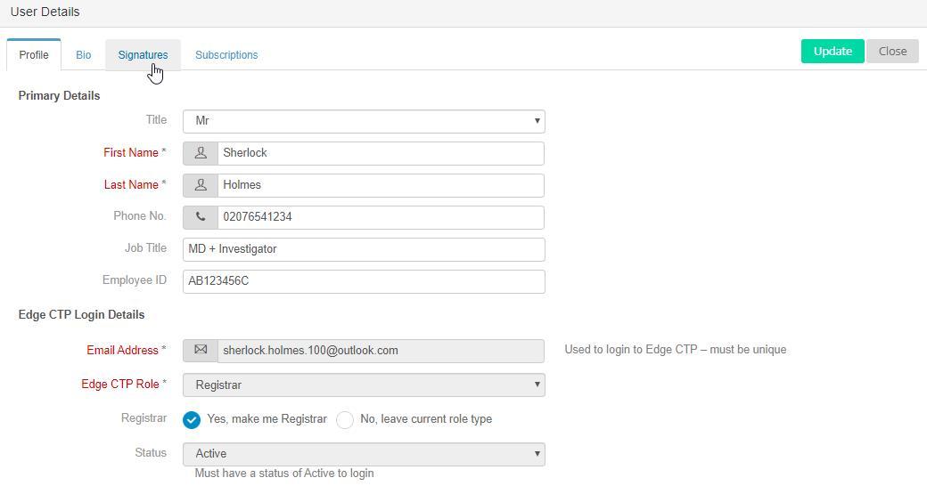 EdgeCTP User Details - choose Signatures tab