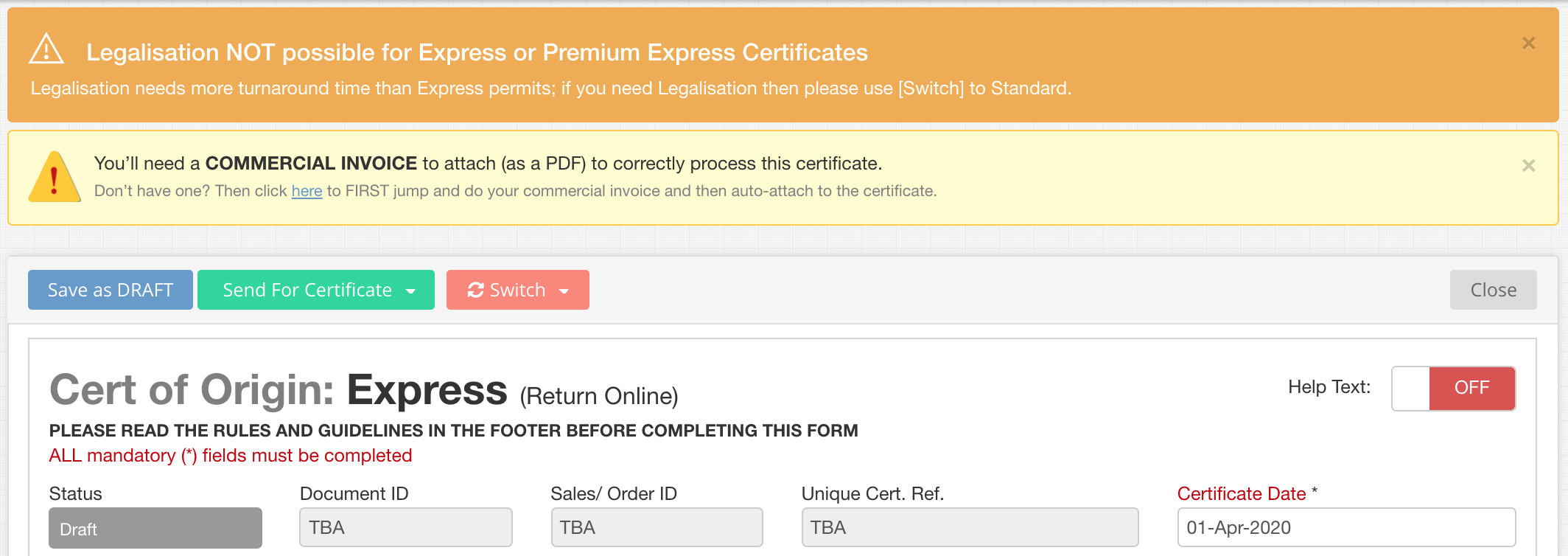 Messages on EC Certificate of Origin