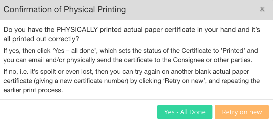 EdgeCERTS Physical Printing EC Certificates Of Origin Dialog