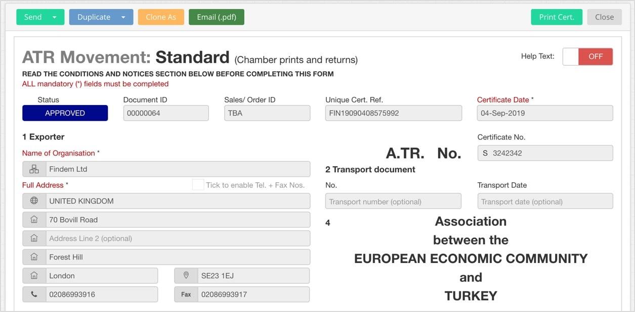 EdgeCTP ATR Movment Certificate