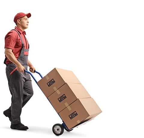 Man moving cargo trolly