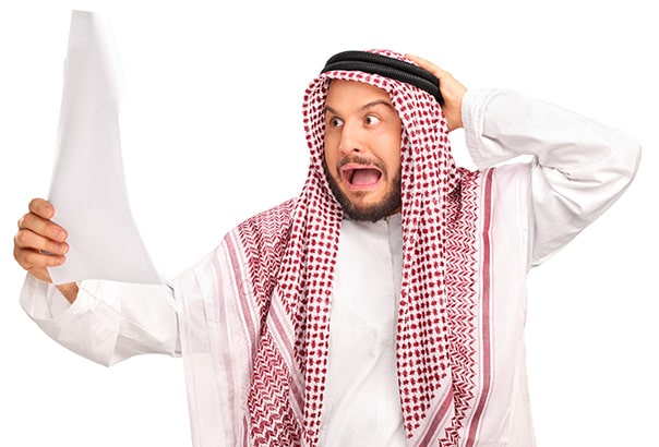 Man shocked seeing the cost of manual trade document