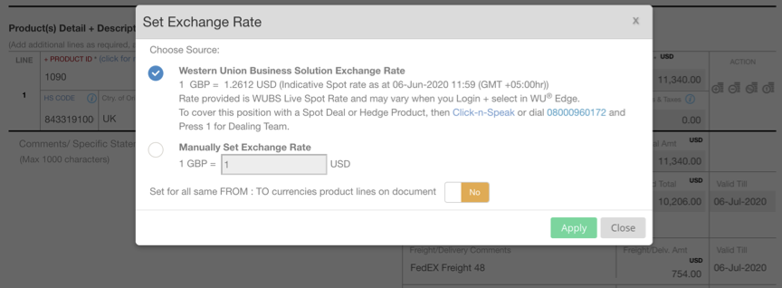 EdgeCTP Financial Document Product Line WUBS Spot FX Rate